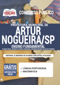 Apostila Prefeitura De Artur Nogueira Sp 2020 Ajudante Geral Servente De Limpeza Encanador Jardineiro Mecânico De Autos E Pedreiro