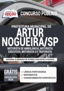 Apostila Prefeitura De Artur Nogueira Sp 2020 Motorista De Ambulância Motorista Executivo Motorista Ii E Tratorista