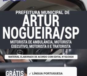 Apostila Prefeitura de Artur Nogueira – SP 2020 – Motorista de Ambulância, Motorista Executivo, Motorista II e Tratorista
