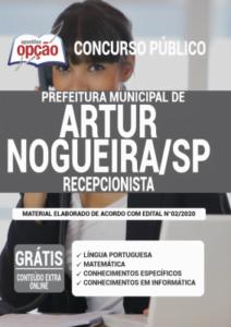 Apostila Prefeitura De Artur Nogueira Sp 2020 Recepcionista