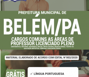 Apostila Prefeitura De Belém-Pa 2020 – Comum As Áreas De Professor Licenciado Pleno