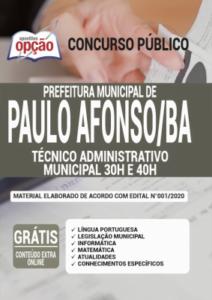 Apostila Prefeitura De Paulo Afonso Ba 2020 Técnico Administrativo Municipal 30h E 40h