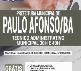Apostila Prefeitura De Paulo Afonso – Ba 2020 – Técnico Administrativo Municipal 30h E 40h