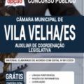 Apostila Câmara De Vila Velha – Es 2020 – Auxiliar De Coordenação Legislativa