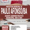 Apostila Prefeitura de Paulo Afonso – BA 2020 – Agente Administrativo Municipal – 30h e 40h