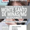 Apostila Prefeitura de Monte Santo de Minas – MG 2020 – Recepcionista